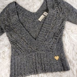 DKNY Deep VNeck LS Knitted Crop Sweater size S.